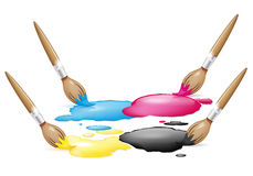 CMYK design with brushes Stock Photography