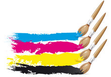 CMYK design - brushes and paint Stock Image