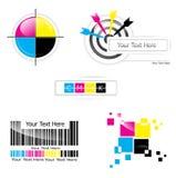 CMYK design set. Creative CMYK design collection over white royalty free illustration