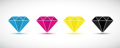 CMYK diamonds primary colors print vector illustration
