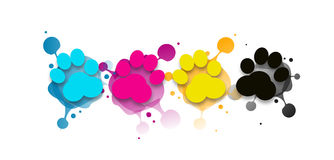 CMYK dog paws with blots Stock Images