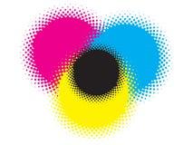 Cmyk dots. Dots illustration using cmyk colours stock illustration