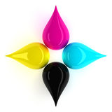 CMYK Drips. Cyan Magenta Yellow Black Drips. Include Clipping Path Royalty Free Stock Image