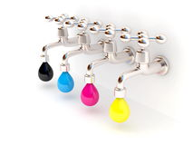 Cmyk drops. Four colored drops on a white background Royalty Free Stock Photo