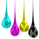 CMYK drops. Isolated on white Royalty Free Stock Images