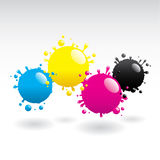 CMYK drops. Four drops of cyan, yellow, magenta and black Stock Photo