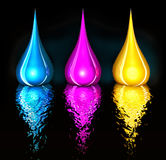 Cmyk drops on black Stock Photography