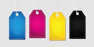 CMYK-druk van etiket de primaire kleuren Royalty-vrije Stock Foto's