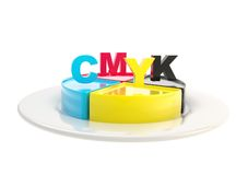 CMYK emblem icon over dish plate isolated Stock Photography