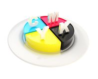 CMYK emblem icon over dish plate isolated Stock Photo