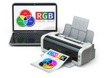 CMYK en RGB kleurenmodellen Laptop en printer Stock Afbeeldingen