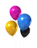 CMYK färbte Ballone getrennt auf Weiß Lizenzfreie Stockfotografie