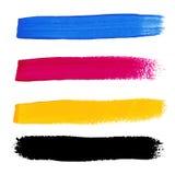 CMYK färgar akrylfläckar Royaltyfri Illustrationer