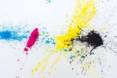 CMYK-färgfärgpulver för cyan magentafärgad guling för skrivare Arkivbild