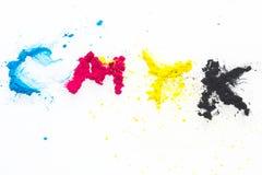 CMYK-färgfärgpulver för cyan magentafärgad guling för skrivare Royaltyfri Bild