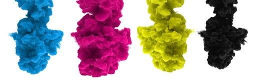 CMYK-färgpulver-droppar på en vit bakgrund - 3D framför stock illustrationer