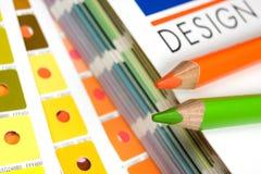 Cmyk Farbenstäbe auf gedruckt Stockfotografie