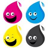 CMYK-Farbtropfencharaktere Stockbilder
