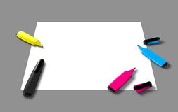 CMYK felt pens Royalty Free Stock Photo