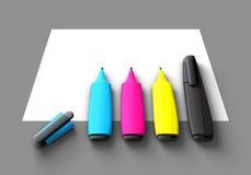 CMYK Felt-tip pens Stock Image