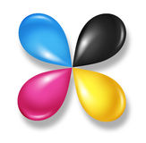 Cmyk Flower icon. Concept as cyan magenta yellow and black drops of ink or paint toner as a star symbol of four color printing and designer calibration of Stock Images