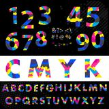 Cmyk font typeface. Made from overlayed Cyan Magenta and Yellow. Figures 1, 2, 3, 4 5 6 7 8 9 0 Made from overlayed Cyan Magenta and Yellow Royalty Free Illustration