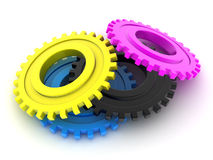 CMYK Gears Royalty Free Stock Image