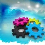 Cmyk gears vector illustration