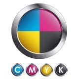 CMYK Glossy Round Buttons. Metallic Border Glossy Round Buttons with CMYK Colors royalty free stock photo