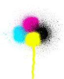 CMYK graffiti leaking drip sprayed element over white Royalty Free Stock Image