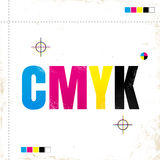 CMYK on grunge paper. Royalty Free Stock Images