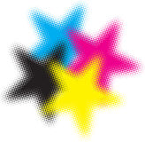 Cmyk halftone stars. Cmyk halftone with colorful stars Royalty Free Stock Photography