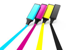 Cmyk highlighters Stock Images