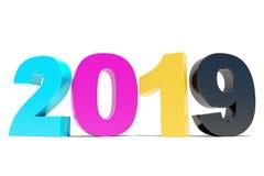 CMYK-2019 Hintergrund - guten Rutsch ins Neue Jahr Lizenzfreie Stockfotografie