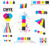 Cmyk icon set. A variety of different icons symbolizing the cmyk color model which is a subtractive color model used in color printing. Isolated over white Stock Photos