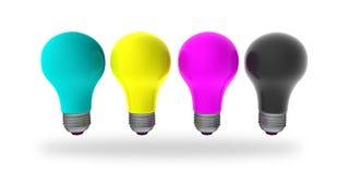 CMYK Ideas. CMYK light bulbs isolated on white Royalty Free Stock Photos