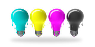 CMYK Ideas dripping. CMYK dripping light bulbs isolated on white Stock Image