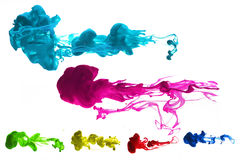 Cmyk ink. Cyan magenta yellow and black ink underwater Stock Photo