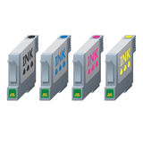 CMYK ink cartridges in isometric. Royalty Free Stock Images