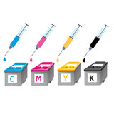 CMYK ink cartridges in perspective. Syringe with a drop Royalty Free Stock Photos