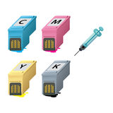 CMYK ink cartridges in perspective. Syringe with a drop Stock Photography