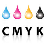 Cmyk ink drop color paint print Royalty Free Stock Photography