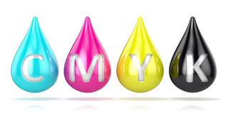 CMYK ink droplets sign Stock Photos
