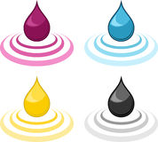 CMYK ink drops Royalty Free Stock Images