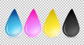 Cmyk ink drops over a blank design layer Stock Photography