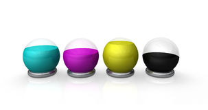 CMYK ink globes Royalty Free Stock Images