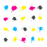 CMYK ink splashes elements collections Royalty Free Stock Photos