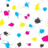 CMYK ink splashes seamless pattern Stock Photo
