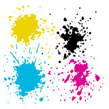 CMYK ink splashes Royalty Free Stock Images