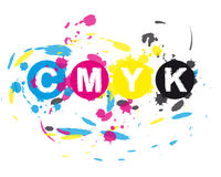CMYK ink splat. Illustration of cmyk, cyan, magenta, yellow and key black colors with ink splat effect; isolated on white background royalty free illustration